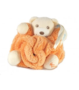 Mini doudou ours Kaloo orange plume attache tétine 10 cm