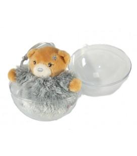 Mini doudou Kaloo Ours gris fourrure Fur 10 cm boule de Noël