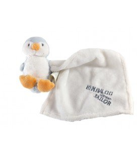 Doudou Pingouin bleu Kimbaloo Mouchoir blanc Winter Sailor