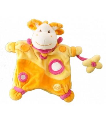 Doudou Marionnette GIRaFE Vache orange jaune BaBY NaT Babynat - Fleur