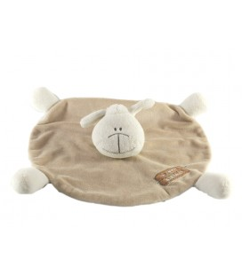 Doudou plat rond Mouton beige blanc by Petit KIMBALOO