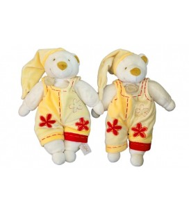 LOT 2 x Peluches doudous OURS orange jaune BaBY NaT Babynat - Fleur rouge