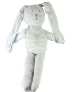 Doudou Lapin blanc bleu rayé rayures PETIT BATEAU 30 cm