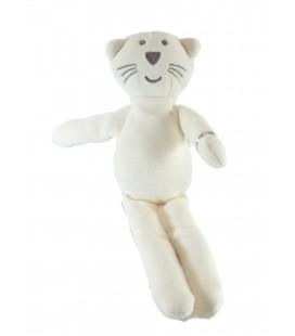 Doudou Chat blanc gris Mon Doudou Bout'chou Monoprix 28 cm