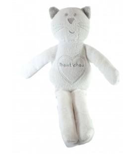 Doudou Chat blanc gris argenté Bout'chou Monoprix 32 cm