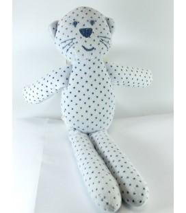 Doudou Chat blanc étoiles bleues Bout'chou Monoprix 30 cm