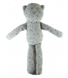 Doudou Chat gris étoiles Bout'chou Monoprix 30 cm