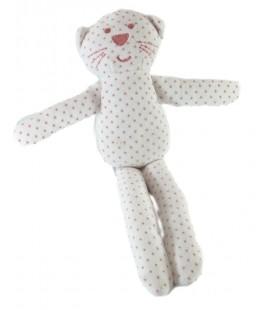 Doudou blanc étoiles rose Bout'chou Monoprix 28 cm