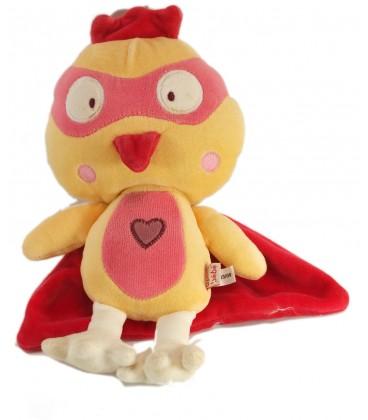 Doudou poule poussin jaune rouge Juliette la poulette masquée DPAM Du Pareil au Même 25 cm