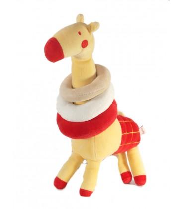 Doudou Girafe jaune rouge Anneaux DPAM Du Pareil au Même 30 cm
