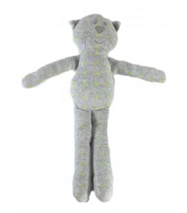 Doudou Chat gris étoiles vertes Bout'chou Monoprix 30 cm