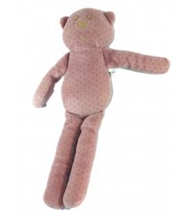Doudou Chat rose pois beiges Bout'chou Monoprix 30 cm