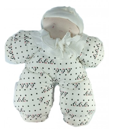 Ancien Vintage Douillette doudou Lutin blanc Collerette tissu motif pingouins