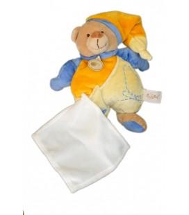 Doudou ours bleu jaune orange mouchoir blanc Baby Nat 26 cm