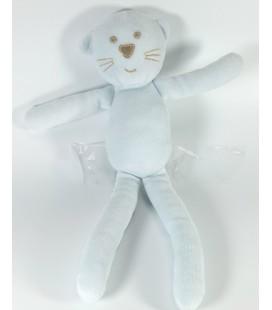 Doudou Chat bleu ciel bleu clair Bout'chou Monoprix 30 cm