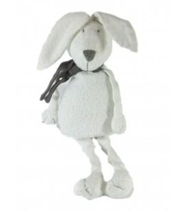Doudou Lapin blanc Echarpe grise Bout'chou Monoprix 38 cm