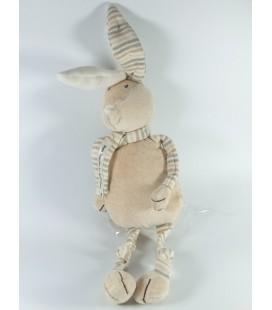 Doudou Lapin blanc Echarpe marron Bout'chou Monoprix 38 cm
