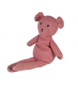 Doudou ours Blanc rouge rayures 26 cm Petit Bateau