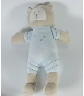 Doudou Ours bleu beige sac à dos PETIT BATEAU 23 cm