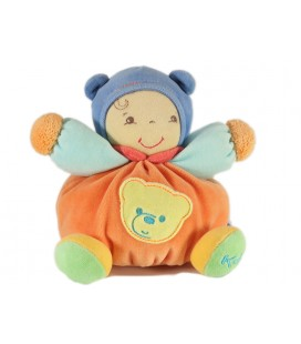 Kaloo Pop Orange Ours Doudou Poupon Grelot 19 cm