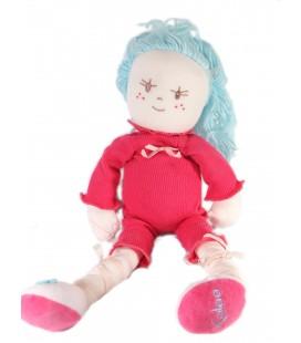 Kaloo Doudou poupée rose 45 cm Cheveux bleus Très rare Petit tache
