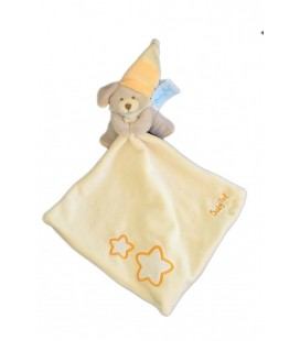 Doudou CHIEN gris mouchoir orange - BaBY NaT - Etoiles brodées - 15 cm - LUMINESCENT