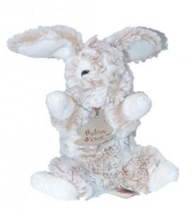 Histoire d'Ours - Peluche Doudou lapin blanc beige chiné 18 cm