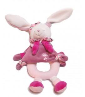 Doudou et Compagnie - Mini Lapin blanc rose acidulé 17 cm