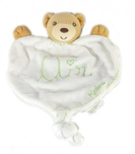 "Doudou plat Ours blanc vert ""Air"" Kaloo Bio Ecologique Eco-friendly Bio"