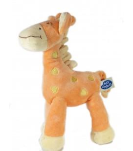 Doudou peluche Girafe orange jaune 25 cm Mots d'Enfants
