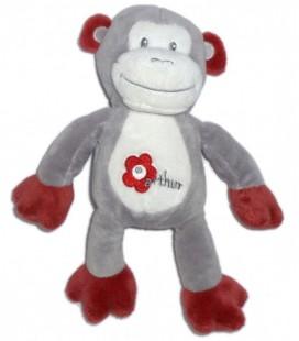 Doudou singe gris blanc bordeaux Arthur et Lola Bébisol 25 cm Fleur