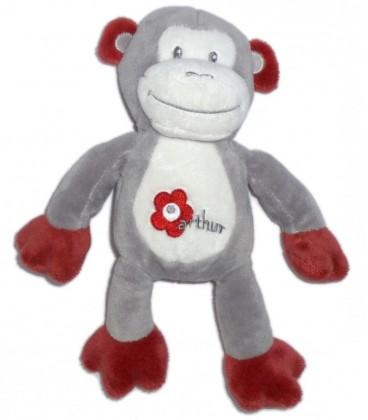 Doudou singe gris blanc bordeaux Arthur et Lola Bebisol 25 cm Fleur
