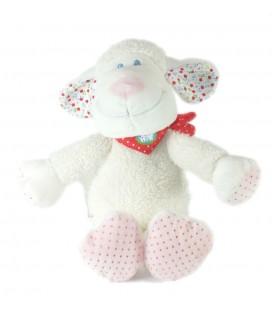 Doudou Mouton blanc TEX Baby Carrefour Bandana foulard rouge pois 28 cm
