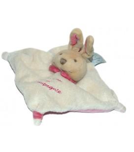 Doudou et Compagnie Mini doudou Lapin plat blanc rose 15 cm