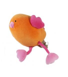Doudou Oiseau orange rose Natalys 16 cm
