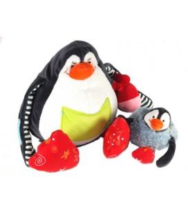 Doudou peluche d'activité éveil Pinguoin et son bébé Lilliputiens 20 cm