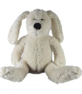 Doudou peluche Lapin chien blanc écru Cadet Rousselle 32 cm