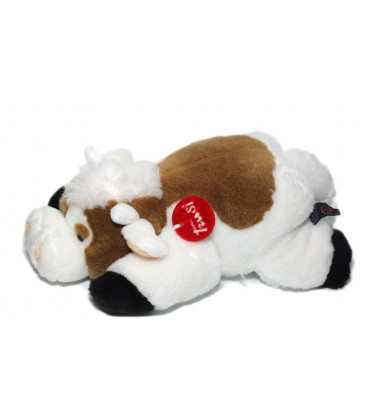 Peluche Doudou Vache marron blanc allongée Trudi 32 cm