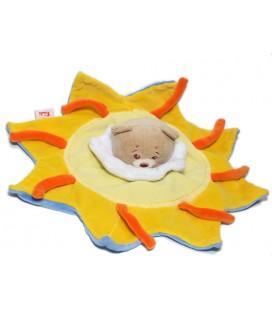 Doudou plat Ours jaune orange bleu soleil TRUDI