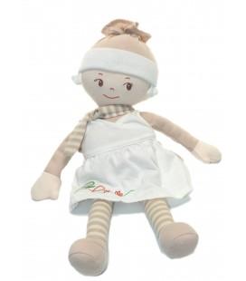 Poupée doudou tissu Robe blanche beige Corolle Coeur 38 cm