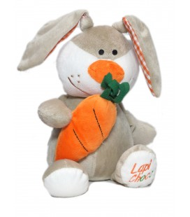Peluche doudou Lapin gris orange Carotte FIZZY Lapi Choco 32 cm