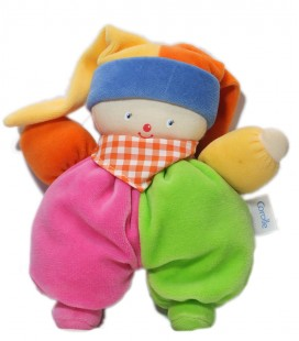 Doudou Clown bleu Corolle Noeud Vichy rose carreaux 30 cm