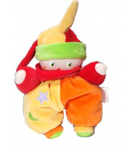 Doudou Clown orange jaune étoile lune Corolle 20 cm