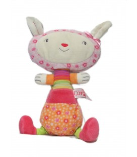 Doudou Lapin rose orange Corolle 2006 22 cm