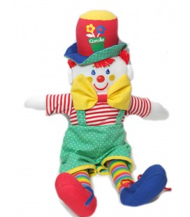 Doudou Clown d'activité éveil tissu vert rouge Corolle 38 cm Grelot