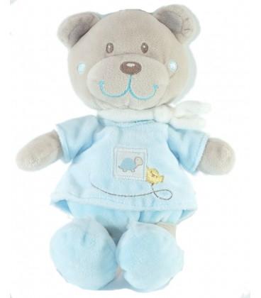 Doudou peluche Ours bleu 26 cm Tortue Tex Baby Carrefour