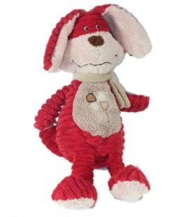 Doudou Peluche Lapin rouge Tex Baby Velours cottelé 32 cm