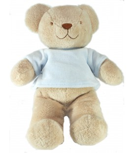 Doudou Peluche Ours beige pull bleu Tex Baby 28 cm
