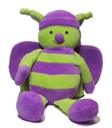 Doudou peluche Papillon vert violet Ajéna Nounours 38 cm
