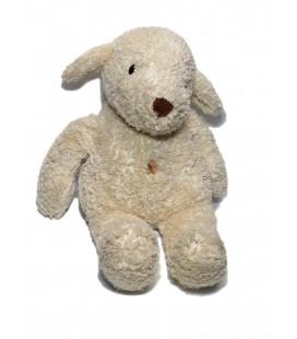 Doudou peluche mouton chien blanc nez marron Ajena 40 cm